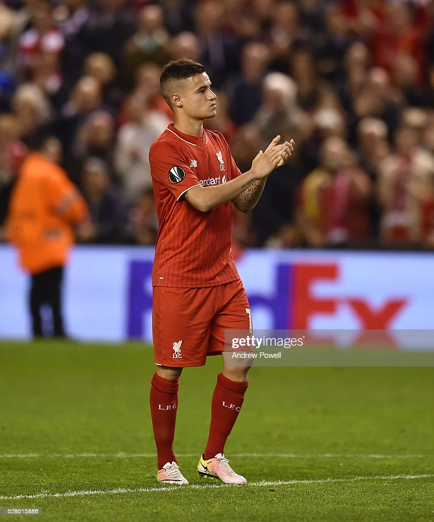 Philippe Coutinho of Liverpool shows his appreciation to the fans at the end of the UEFA Europa League Semi Final: Second Leg match between Liverpool and Villarreal CF at Anfield on May 05, 2016 in Liverpool, England.