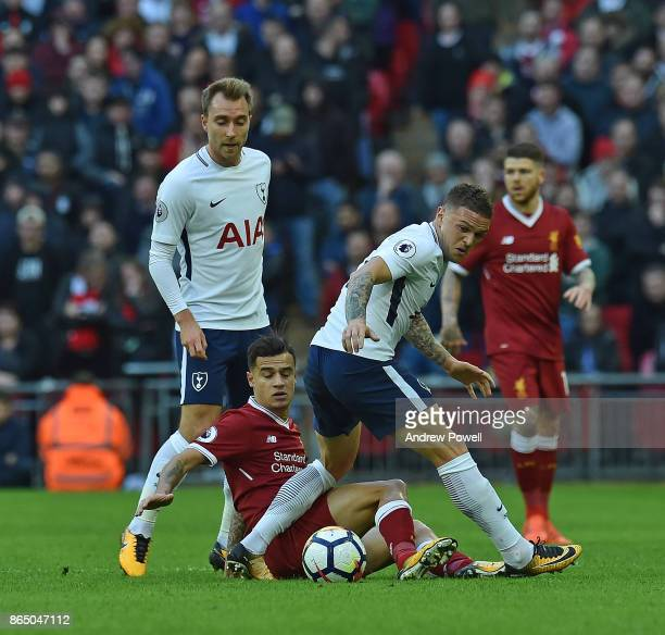 Philippe Coutinho of Liverpool with Kieran Trippier of Tottenham during the Premier League match between Tottenham Hotspur and Liverpool at Wembley...