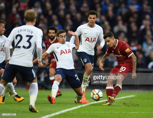 Philippe Coutinho of Liverpool with Serge Aurier of Tottenham during the Premier League match between Tottenham Hotspur and Liverpool at Wembley...
