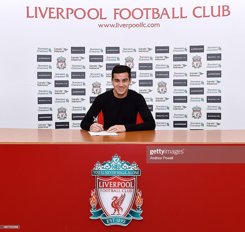 <a gi-track='captionPersonalityLinkClicked' href=/galleries/search?phrase=Philippe+Coutinho&family=editorial&specificpeople=6735575 ng-click='$event.stopPropagation()'>Philippe Coutinho</a> signs a new contract to stay at Liverpool, at Melwood Training Ground on February 3, 2015 in Liverpool, England.
