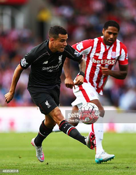 Philippe Coutino of Liverpool in action during the Barclays Premier League match between Stoke City and Liverpool at Britannia Stadium on August 9...