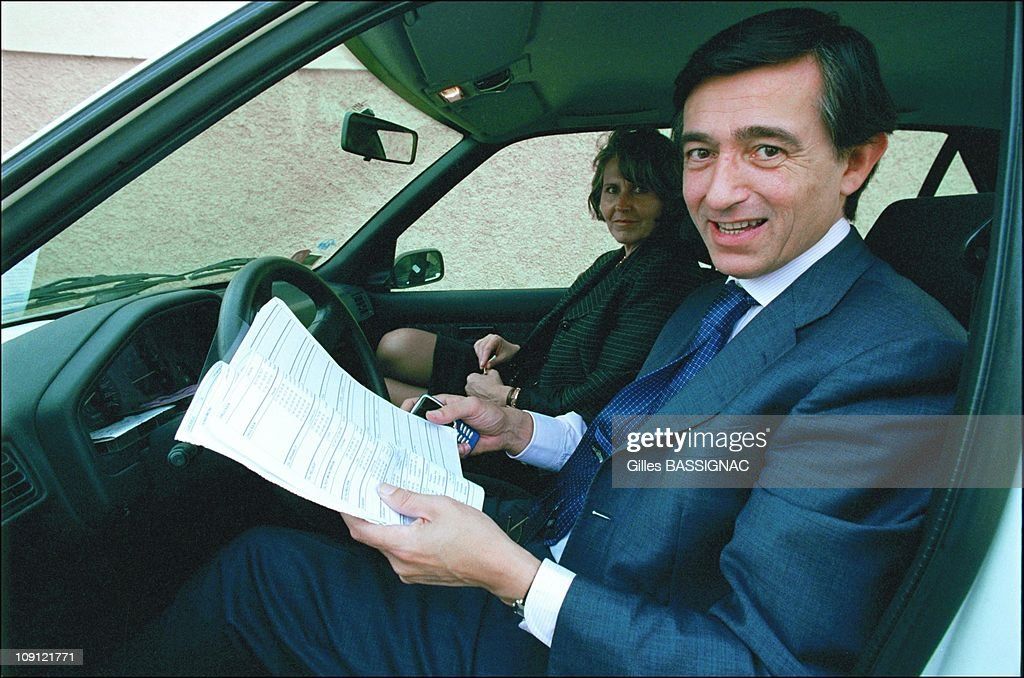 Philippe DousteBlazy Wins The Municipal Election In Toulouse On March 18Th 2001 In Toulouse France With Bernadette Paix After A Visit In A Polling...