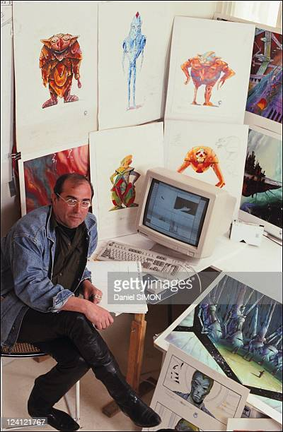 Philippe Druillet prepares a film made of synthesis images in France in May 1991