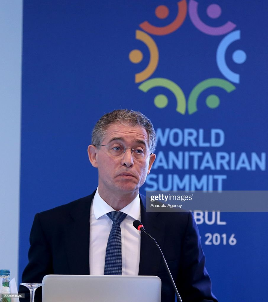 Philippe Duamelle, UNICEF Representative in Turkey, makes a speech during session over the 'Child Protection Program as part of Syria Emergency Response', held within the World Humanitarian Summit in Istanbul, Turkey on May 24, 2016.