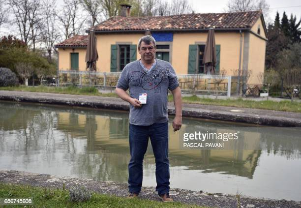 Philippe Durathon restaurant owner divorced with two children lives in CastanetTolosan southwest France poses with his voting card in CastanetTolosan...