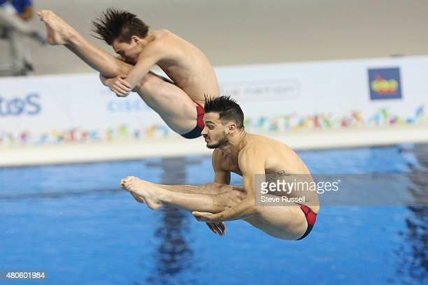TORONTO ON JULY 13 Philippe Gagne and Maxim ImbeauDulac somersault in the pike position the pair would win the silver medal in the men's 3 metre...