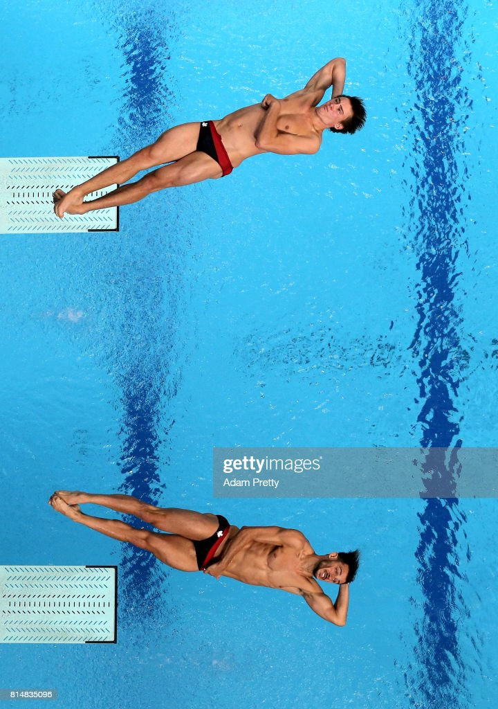 Philippe Gagne of Canada and Francois Imbeau-Dulac of Canada competes during the Men's Diving 3m Sychro Springboard, Preliminary Round on day two of the Budapest 2017 FINA World Championships on July 15, 2017 in Budapest, Hungary.