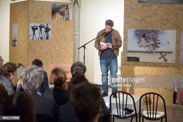 Philippe Gandrieux reads 'Tombeau pour Cinq Cent Mille Soldats' for 50th anniversary of the book at Azzedine Alaia Gallery on October 19 2017 in...