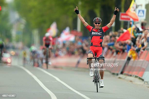 Philippe Gilbert of Belgium and BMC Racing celebrates crossing the finish line to win the 49th edition of the Amstel Gold Race on April 20 2014 in...