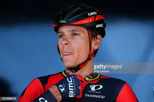 Philippe Gilbert of Belgium and BMC Racing looks on before the start of the 80th La Fleche Wallonne a 196 km race from MarcheenFamenne to Huy on...
