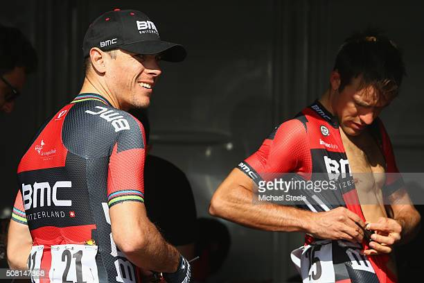 Philippe Gilbert of Belgium and BMC Racing Team alongside Amael Moinard of France prepare ahead of the Dubai Silicon Oasis Stage One of the Tour of...