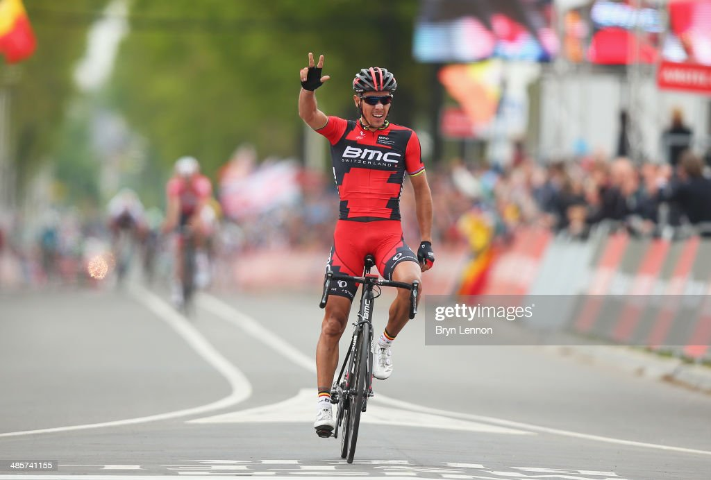<a gi-track='captionPersonalityLinkClicked' href=/galleries/search?phrase=Philippe+Gilbert&family=editorial&specificpeople=578487 ng-click='$event.stopPropagation()'>Philippe Gilbert</a> of Belgium and BMC Racing Team celebrates crossing the finish line to win the 49th edition of the Amstel Gold Race on April 20, 2014 in Maastricht, Netherlands. The 251km route from Maastricht to Valkenburg, sees riders tackling 34 climbs on the way to the finish.