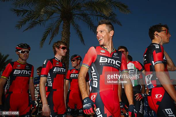 Philippe Gilbert of Belgium and BMC Racing Team heads towards the signing in ahead of the Nakheel Stage Two of the Tour of Dubai on February 4 2016...