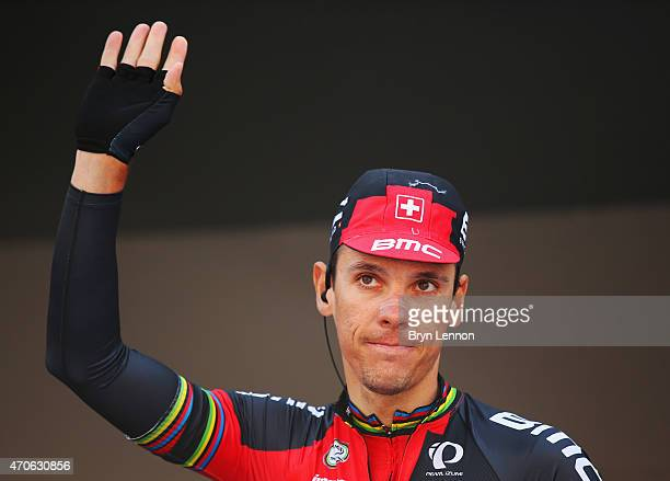 Philippe Gilbert of Belgium and BMC Racing Team waves to the crowd at the start in Waremme during the 79th La Fleche Wallonne from Waremme to Huy on...