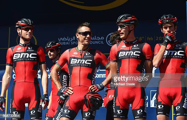 Philippe Gilbert of Belgium and BMC Team Racing lines up at the signing onahead of the Business Bay Stage Four of the Tour of Dubai on February 6...