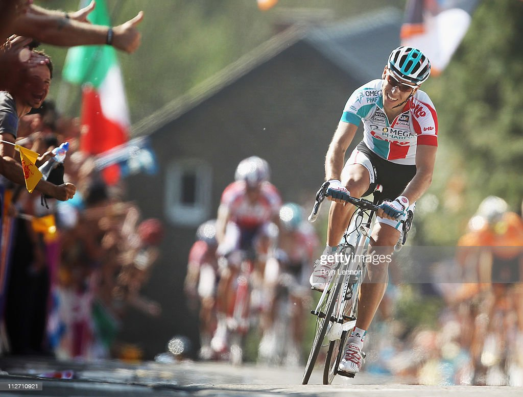 <a gi-track='captionPersonalityLinkClicked' href=/galleries/search?phrase=Philippe+Gilbert&family=editorial&specificpeople=578487 ng-click='$event.stopPropagation()'>Philippe Gilbert</a> of Belgium and Omega Pharma-Lotto approaches the finish line on his way to winning the 75th La Fleche Wallonne 2011 Cycle Race from Charleroi to Huy, on April 20, 2011 in Huy, Belgium.