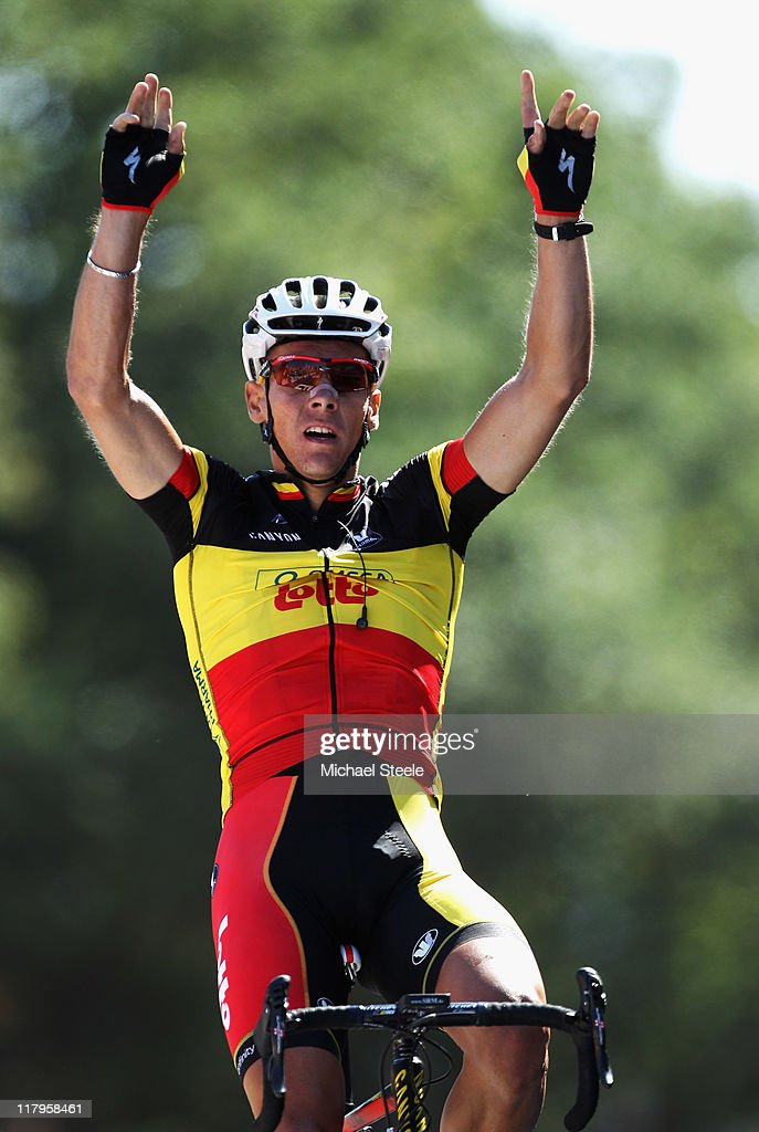 <a gi-track='captionPersonalityLinkClicked' href=/galleries/search?phrase=Philippe+Gilbert&family=editorial&specificpeople=578487 ng-click='$event.stopPropagation()'>Philippe Gilbert</a> of Belgium and Omega Pharma-Lotto celebrates winning stage one of the 2011 Tour de France from the Passage du Gois to Mont des Alouettes Les Herbiers on July 2, 2011 in Les Herbiers, France.