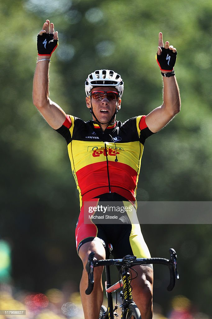 <a gi-track='captionPersonalityLinkClicked' href=/galleries/search?phrase=Philippe+Gilbert&family=editorial&specificpeople=578487 ng-click='$event.stopPropagation()'>Philippe Gilbert</a> of Belgium and Omega Pharma-Lotto celebrates winning stage one of the 2011 Tour de France from Passage du Gois to Mont des Alouettes Les Herbiers on July 2, 2011 in Les Herbiers, France.