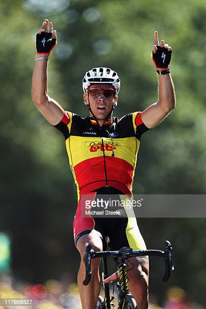 Philippe Gilbert of Belgium and Omega PharmaLotto celebrates winning stage one of the 2011 Tour de France from Passage du Gois to Mont des Alouettes...