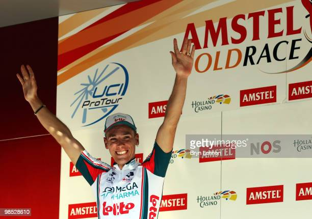 Philippe Gilbert of Belgium and Omega PharmaLotto celebrates winning the Amstel Gold Race on April 18 2010 in Maastricht Netherlands