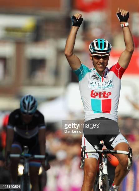 Philippe Gilbert of Belgium and Omega PharmaLotto crosses the line to win the 97th LiegeBastogneLiege race on April 24 2011 in Liege Belgium