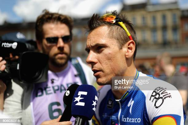 Philippe Gilbert of Belgium and team QuickStep Floors is interviewed during stage 3 of the 2017 Tour de France a 2125km road stage from Verviers to...