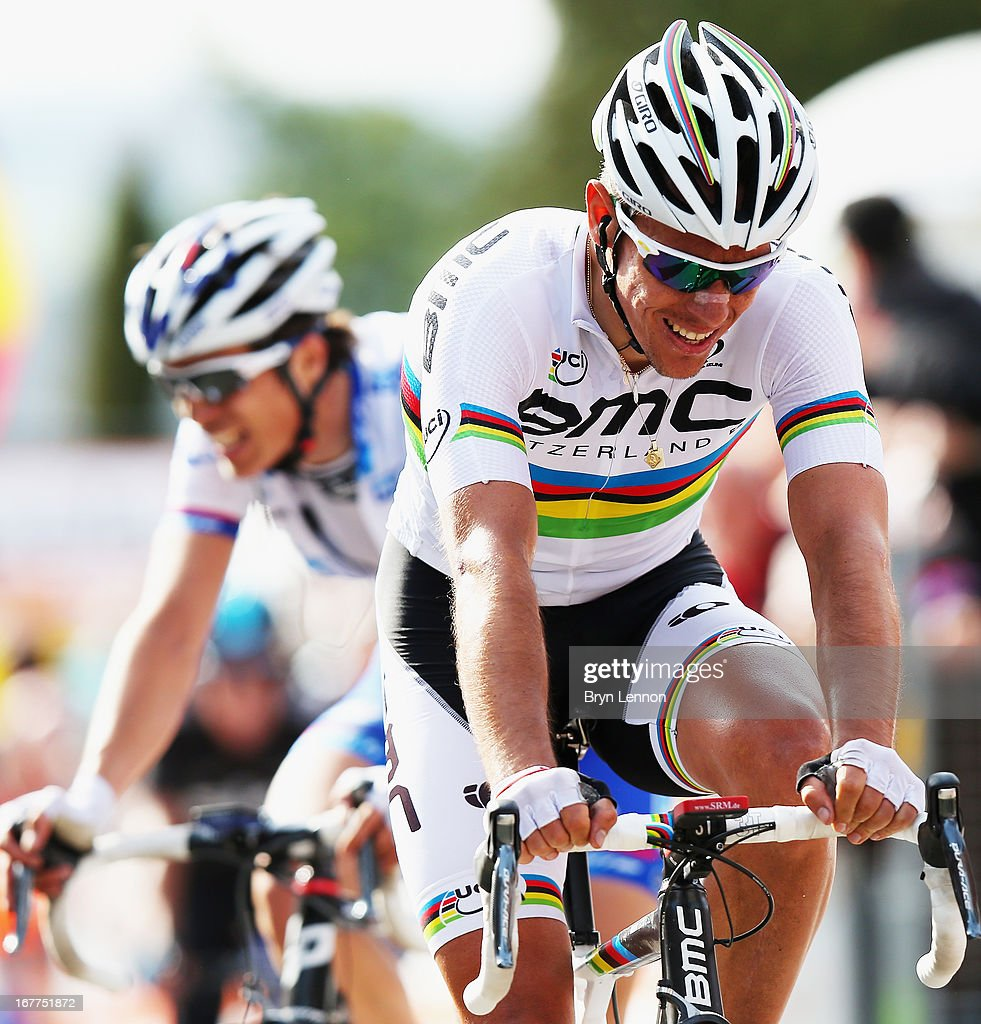 <a gi-track='captionPersonalityLinkClicked' href=/galleries/search?phrase=Philippe+Gilbert&family=editorial&specificpeople=578487 ng-click='$event.stopPropagation()'>Philippe Gilbert</a> of Belgium and the BMC Racing Team crosses the finish line during the 77th edition of La Fleche Wallonne cycle race from Binche to Huy on April 17, 2013 in Huy, Belgium.
