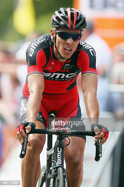 Philippe Gilbert of Belgium and the BMC Racing Team crosses the finish line during the 2014 La Fleche Wallonne race on April 23 2014 in Huy Belgium