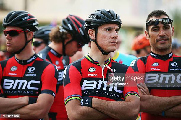 Philippe Gilbert of Belgium and the BMC Racing team looks on at the start of stage three of the Dubai Tour from the Dubai International Marine Club...