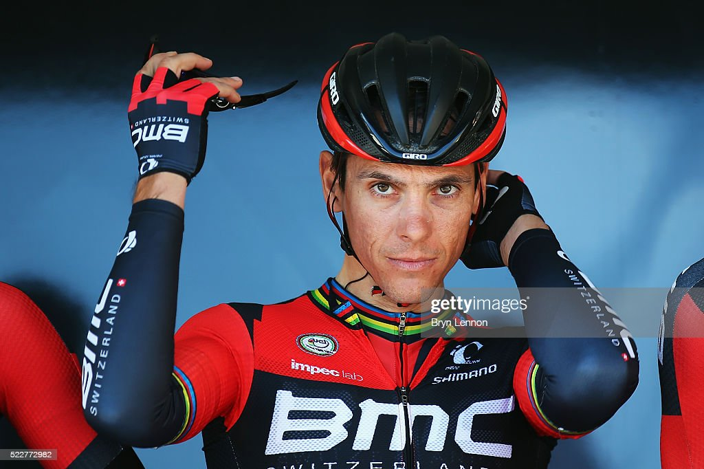 <a gi-track='captionPersonalityLinkClicked' href=/galleries/search?phrase=Philippe+Gilbert&family=editorial&specificpeople=578487 ng-click='$event.stopPropagation()'>Philippe Gilbert</a> of Belgium and the BMC Racing team looks on at the start of the 80th La Fleche Wallonne from Marche-en-Famenne to Huy, on April 20, 2016 in Belgium.