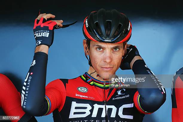 Philippe Gilbert of Belgium and the BMC Racing team looks on at the start of the 80th La Fleche Wallonne from MarcheenFamenne to Huy on April 20 2016...