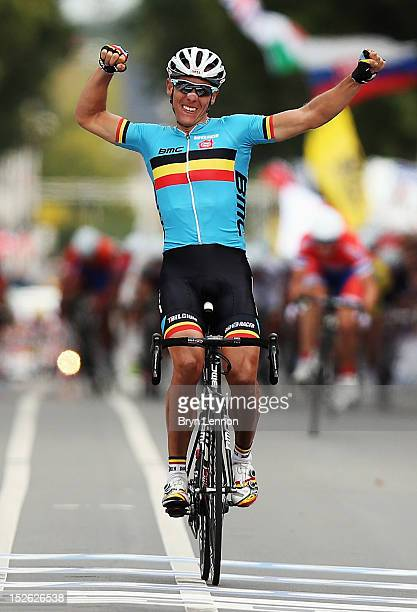 Philippe Gilbert of Belgium celebrates as he crosses the finishline to win the Men's Elite Road Race on day eight of the UCI Road World Championships...