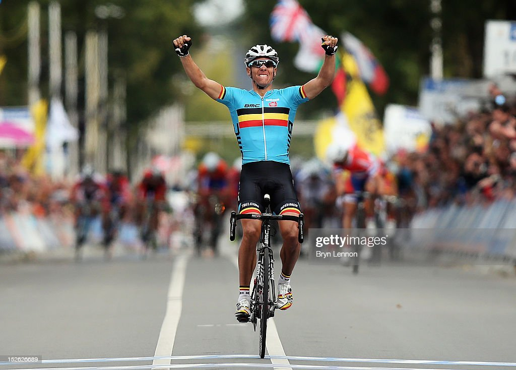<a gi-track='captionPersonalityLinkClicked' href=/galleries/search?phrase=Philippe+Gilbert&family=editorial&specificpeople=578487 ng-click='$event.stopPropagation()'>Philippe Gilbert</a> of Belgium celebrates as he crosses the finishline to win the Men's Elite Road Race on day eight of the UCI Road World Championships on September 23, 2012 in Valkenburg, Netherlands.