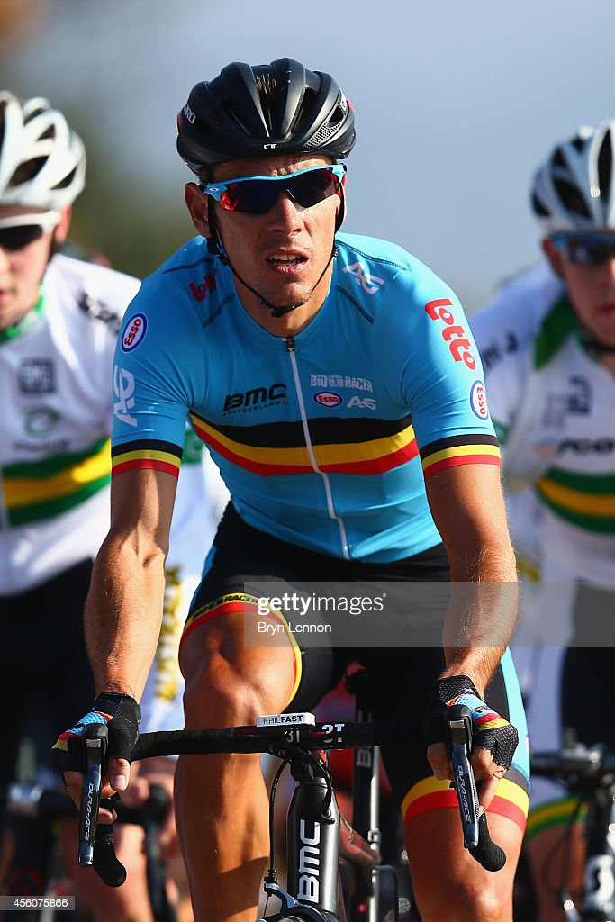 <a gi-track='captionPersonalityLinkClicked' href=/galleries/search?phrase=Philippe+Gilbert&family=editorial&specificpeople=578487 ng-click='$event.stopPropagation()'>Philippe Gilbert</a> of Belgium in action during training for the UCI World Road Race Championships on September 25, 2014 in Ponferrada, Spain.