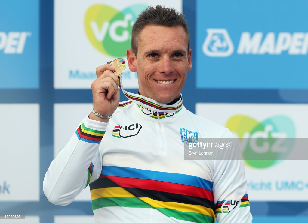 Philippe Gilbert of Belgium stands on the podium after winning the Men's Elite Road Race on day eight of the UCI Road World Championships on September 23, 2012 in Valkenburg, Netherlands.
