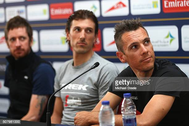 Philippe Gilbert of BMC Racing Team addresses the media during a press conference alongside Fabian Cancellara of TrekSegafredo and Sir Bradley...