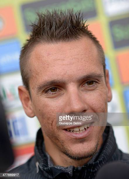 Philippe Gilbert of BMC Racing Team takes part in a press conference ahead of the TirrenoAdriatico 2014 previews on March 11 2014 in Donoratico near...