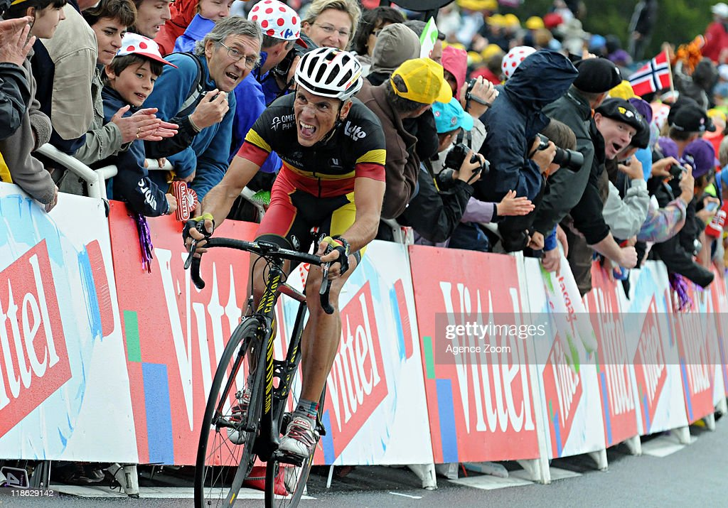 <a gi-track='captionPersonalityLinkClicked' href=/galleries/search?phrase=Philippe+Gilbert&family=editorial&specificpeople=578487 ng-click='$event.stopPropagation()'>Philippe Gilbert</a> of Team Omega Pharma - Lotto during Stage 8 of the Tour de France on July 9, 2011 Aigurande to Super-Besse Sancy, France.