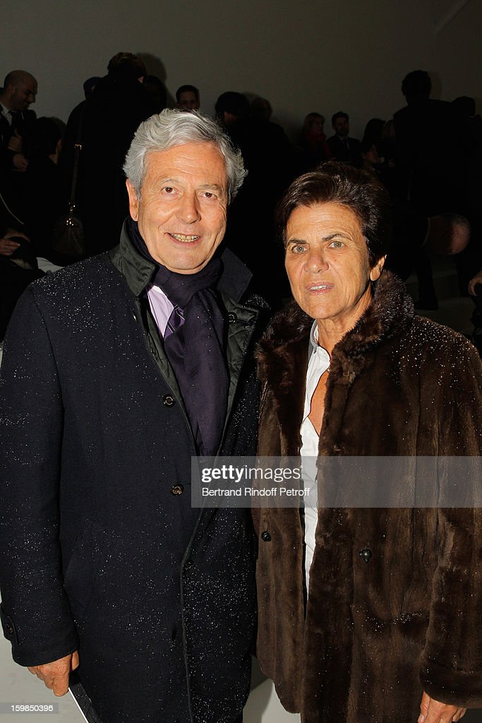 Philippe Houze, CEO of Galeries Lafayette (L) and his wife Christiane attend the Christian Dior Spring/Summer 2013 Haute-Couture show as part of Paris Fashion Week at on January 21, 2013 in Paris, France.