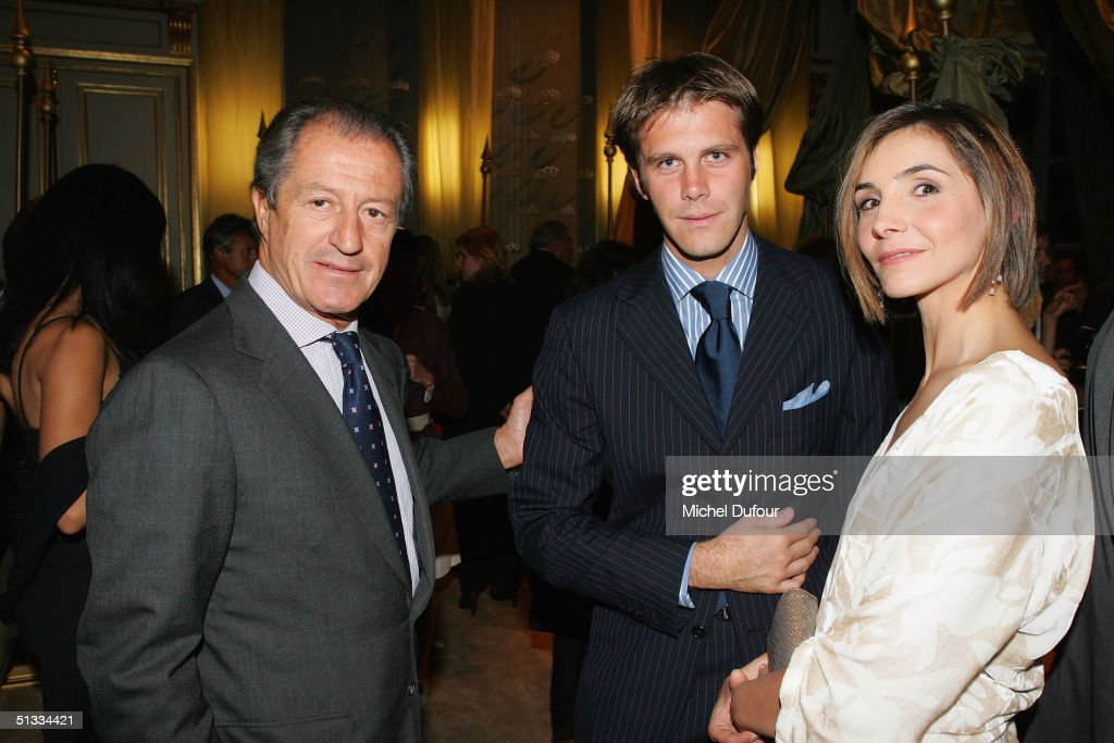 Philippe Junot poses with Prince and Princesse Filiberto and Clotilde de Savoie at the Chaumet Cocktail Party at Place Vendome on September 21 2004...