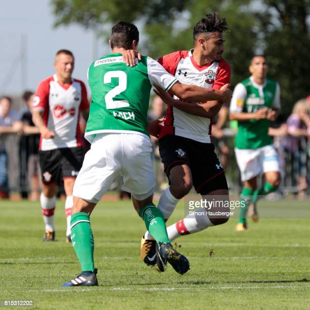 Philippe Koch from St Gallen and Sofiane Boufal from FC Southampton in action during the preseason friendly match between FC Southampton and St...