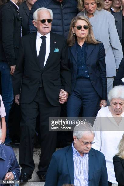 Philippe Labro and wife Francoise Coulon attend actress Mireille Darc's Funerals at Eglise SaintSulpice on September 1 2017 in Paris France