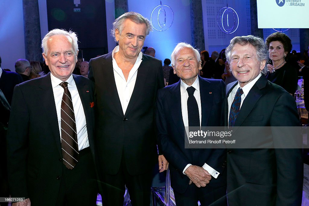 Philippe Labro, Bernard Henri Levy, Laureat 2013 <a gi-track='captionPersonalityLinkClicked' href=/galleries/search?phrase=Jean+d%27Ormesson&family=editorial&specificpeople=2844903 ng-click='$event.stopPropagation()'>Jean d'Ormesson</a> and <a gi-track='captionPersonalityLinkClicked' href=/galleries/search?phrase=Roman+Polanski&family=editorial&specificpeople=207150 ng-click='$event.stopPropagation()'>Roman Polanski</a> attend 'Scopus Awards 2013', Taste of Knowledge (Les Saveurs du Savoir) at Espace Cambon Capucines on April 10, 2013 in Paris, France.
