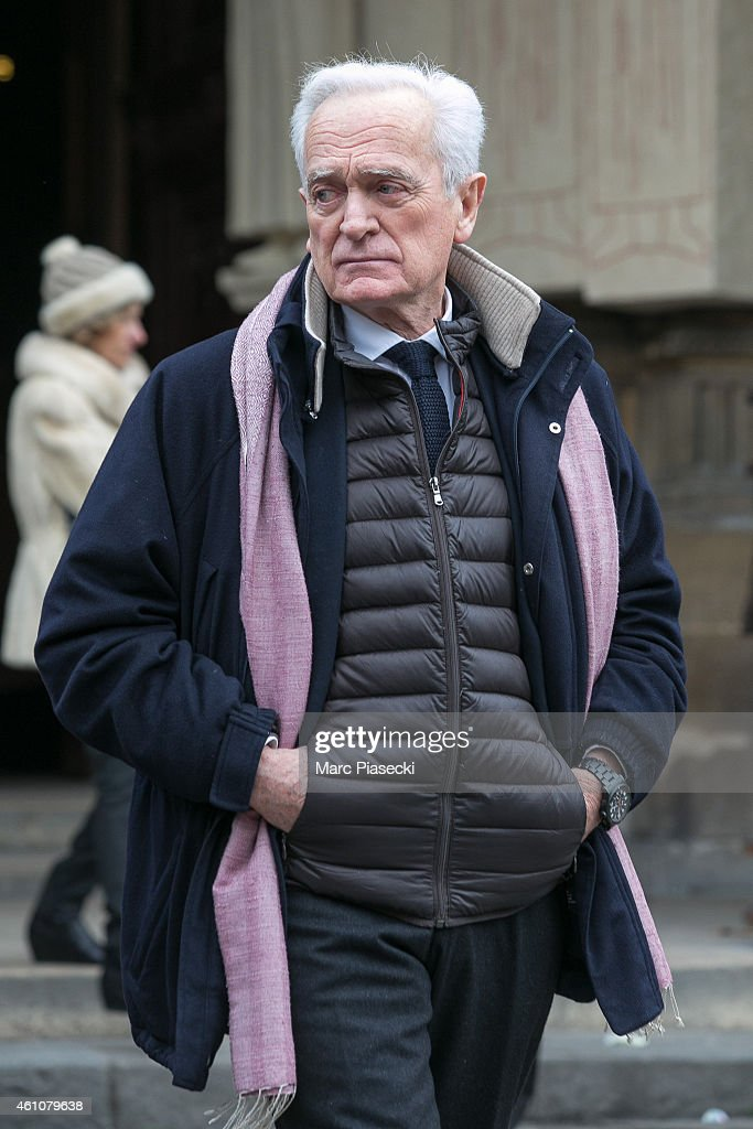 Philippe Labro leaves the funeral of journalist Jacques Chancel at Saint-Germain-des-Pres church on January 6, 2015 in Paris, France.