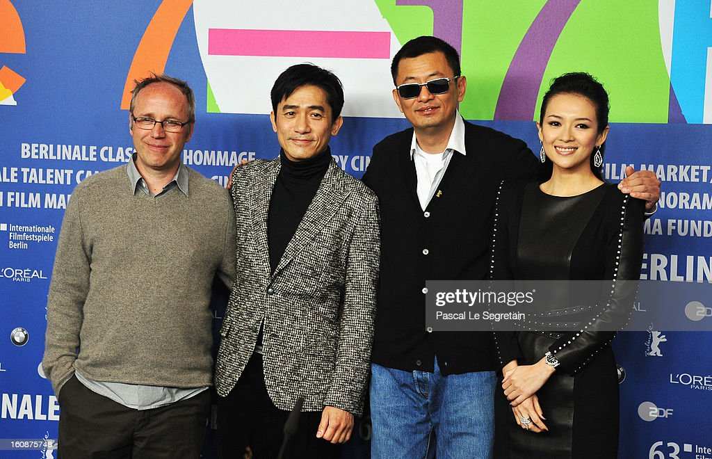 Philippe Le Sourd, Tony Leung Chiu Wai, <a gi-track='captionPersonalityLinkClicked' href=/galleries/search?phrase=Wong+Kar-Wai&family=editorial&specificpeople=607048 ng-click='$event.stopPropagation()'>Wong Kar-Wai</a> and Zhang Ziyi attends 'The Grandmaster' Press Conference during the 63rd Berlinale International Film Festival at the Grand Hyatt on February 7, 2013 in Berlin, Germany.