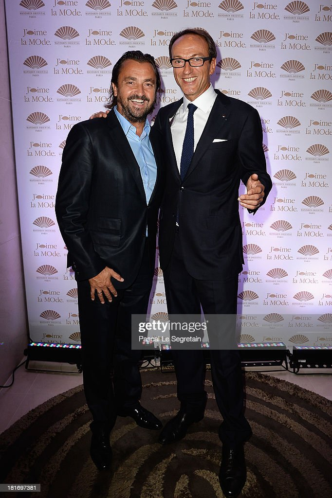 Philippe Leboeuf and <a gi-track='captionPersonalityLinkClicked' href=/galleries/search?phrase=Henri+Leconte&family=editorial&specificpeople=159217 ng-click='$event.stopPropagation()'>Henri Leconte</a> attend the 'J'Aime La Mode' Cocktail Event Hosted by Chef Thierry Marx at Hotel Mandarin Oriental on September 23, 2013 in Paris, France.