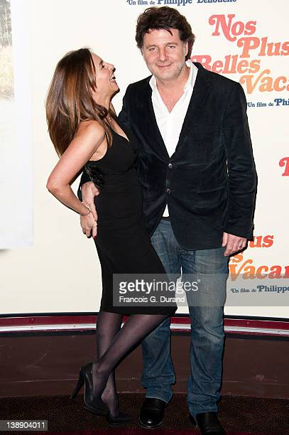 Philippe Lellouche and Vanessa Demouy attend 'Nos Plus Belles Vacances' Paris Premiere at Gaumont Champs Elysees on February 13 2012 in Paris France