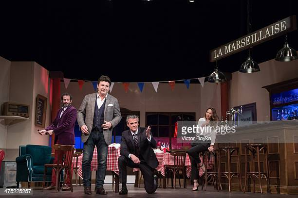 Philippe Lellouche Christian Vadim David Brecourt Vanessa Demouy pose on the stage at Theatre Du Gymnase before L'Appel De Londres Theater play on...