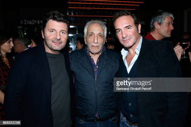 Philippe Lellouche Gerard Darmon and Jean Dujardin attend Claude Lelouch celebrates his 80th Birthday at Restaurant Victoria on October 30 2017 in...