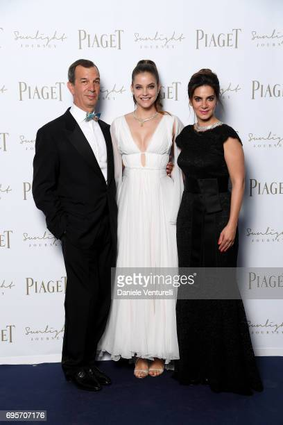 Philippe LeopoldMetzger Barbara Palvin and Chabi Nouri attend Piaget Sunlight Journey Collection Launch on June 13 2017 in Rome Italy
